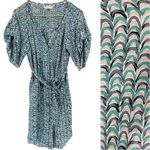 Rebecca Taylor Silk Scallop Print Shirt Dress